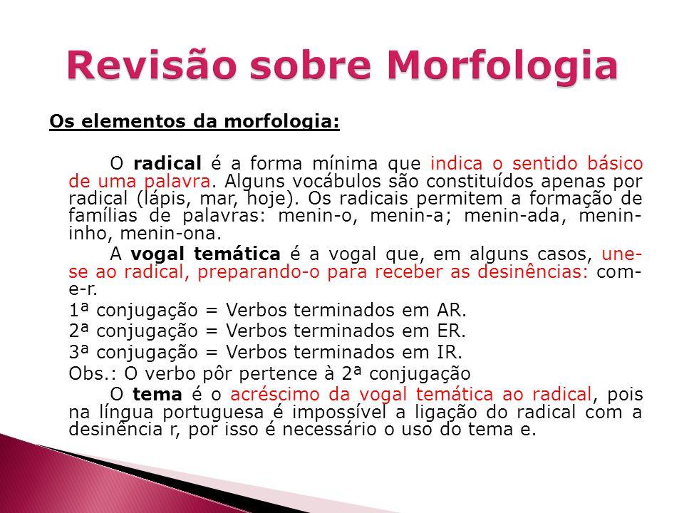 Os elementos da morfologia: O radical é a forma mínima que indica o sentido básico de uma palavra. Alguns vocábulos são constituídos apenas por radica
