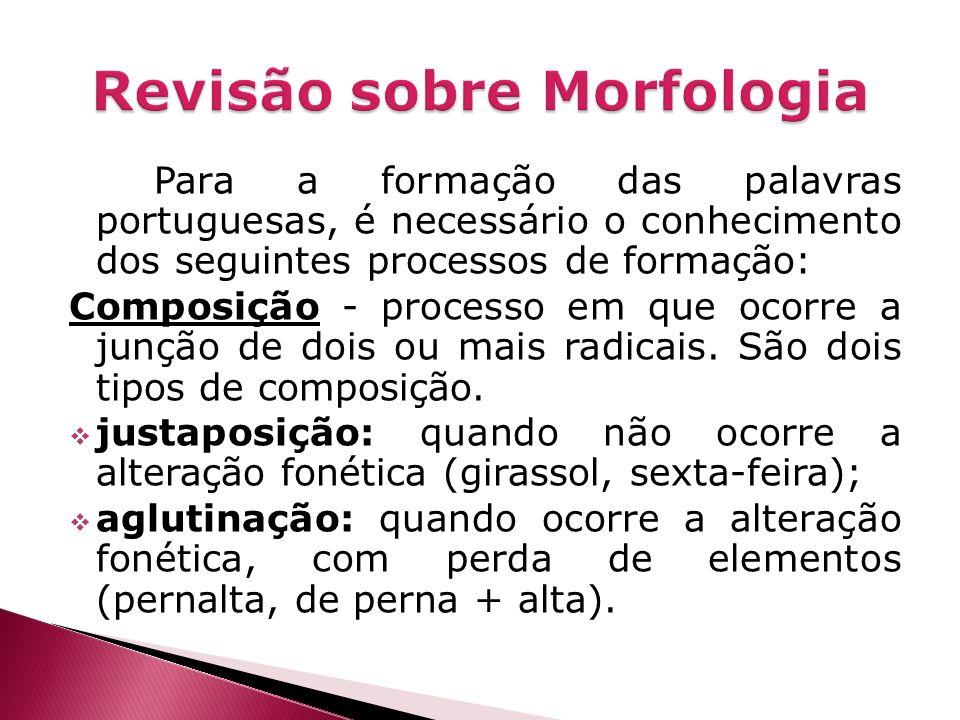 Para a formação das palavras portuguesas, é necessário o conhecimento dos seguintes processos de formação: Composição - processo em que ocorre a junçã