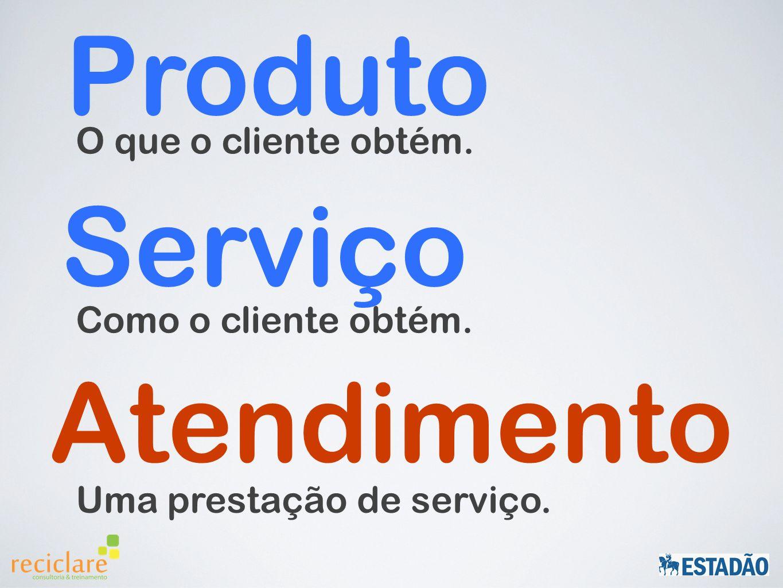 O que o cliente obtém. Produto Como o cliente obtém. Serviço Uma prestação de serviço. Atendimento