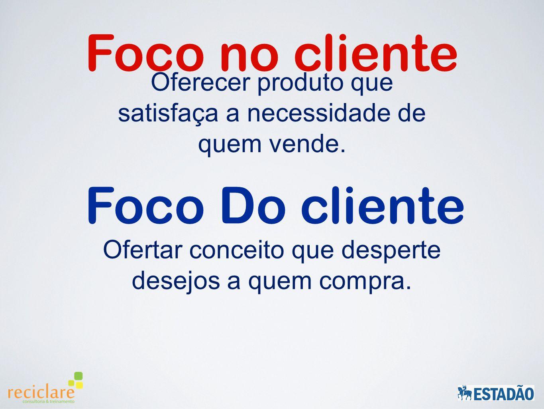 Foco no cliente Oferecer produto que satisfaça a necessidade de quem vende.