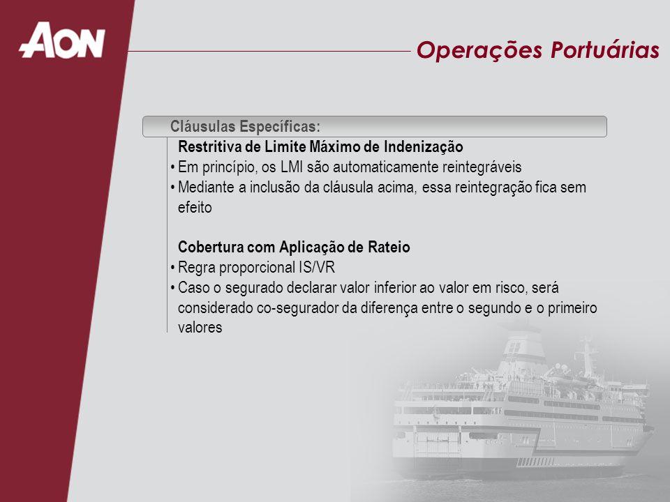 Operações Portuárias Cláusulas Específicas: Restritiva de Limite Máximo de Indenização Em princípio, os LMI são automaticamente reintegráveis Mediante