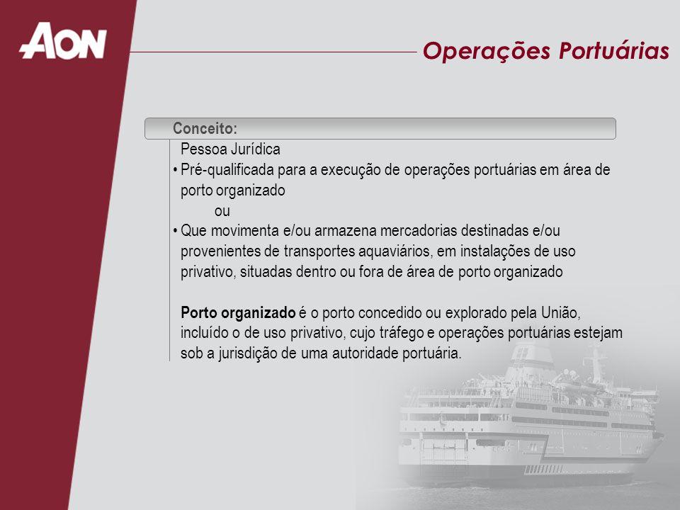 Conceito: Pessoa Jurídica Pré-qualificada para a execução de operações portuárias em área de porto organizado ou Que movimenta e/ou armazena mercadori