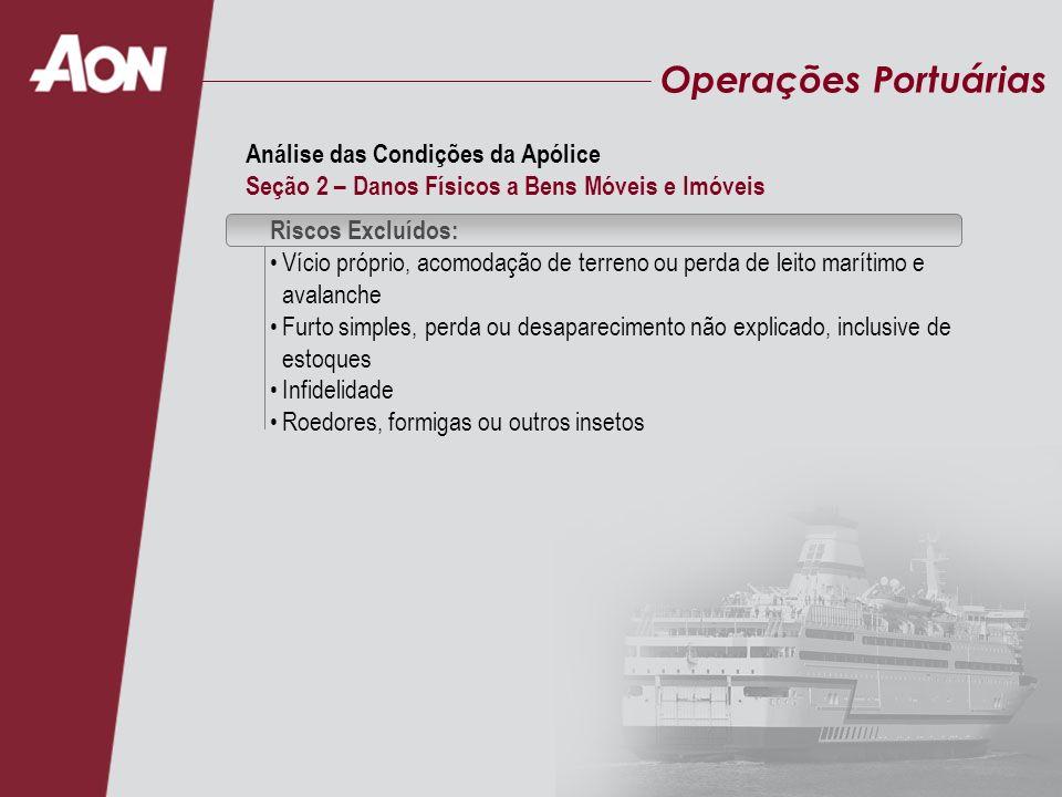 Operações Portuárias Riscos Excluídos: Vício próprio, acomodação de terreno ou perda de leito marítimo e avalanche Furto simples, perda ou desaparecim