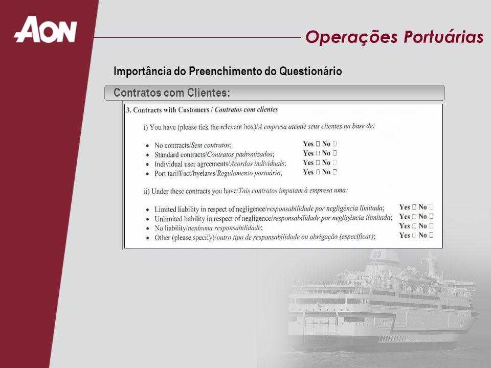 Operações Portuárias Importância do Preenchimento do Questionário Contratos com Clientes: