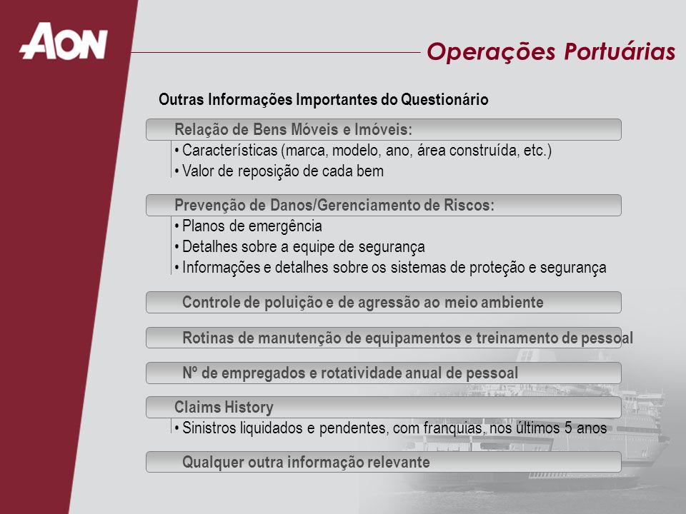 Operações Portuárias Relação de Bens Móveis e Imóveis: Características (marca, modelo, ano, área construída, etc.) Valor de reposição de cada bem Outr