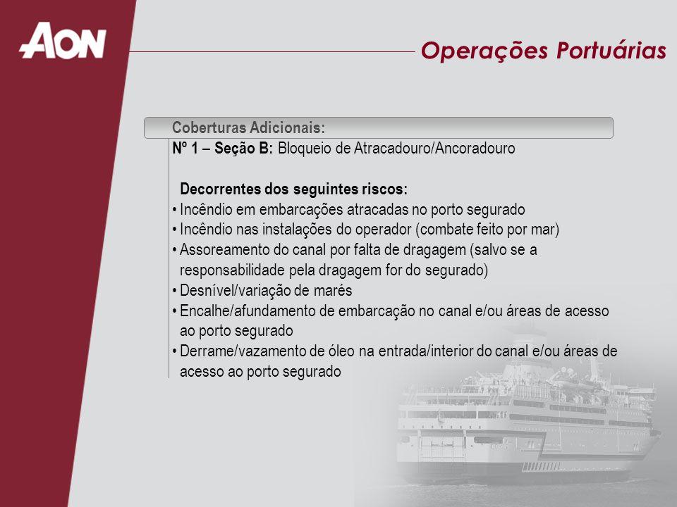 Operações Portuárias Coberturas Adicionais: Nº 1 – Seção B: Bloqueio de Atracadouro/Ancoradouro Decorrentes dos seguintes riscos: Incêndio em embarcaç