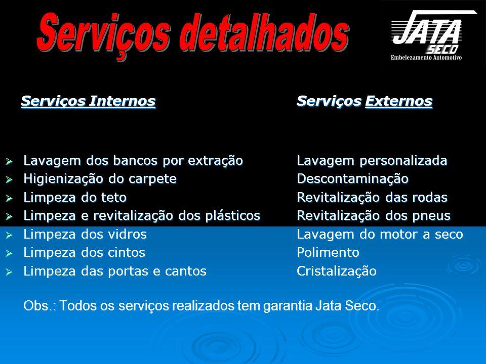 Serviços Internos Serviços Externos Serviços Internos Serviços Externos Lavagem dos bancos por extraçãoLavagem personalizada Lavagem dos bancos por ex
