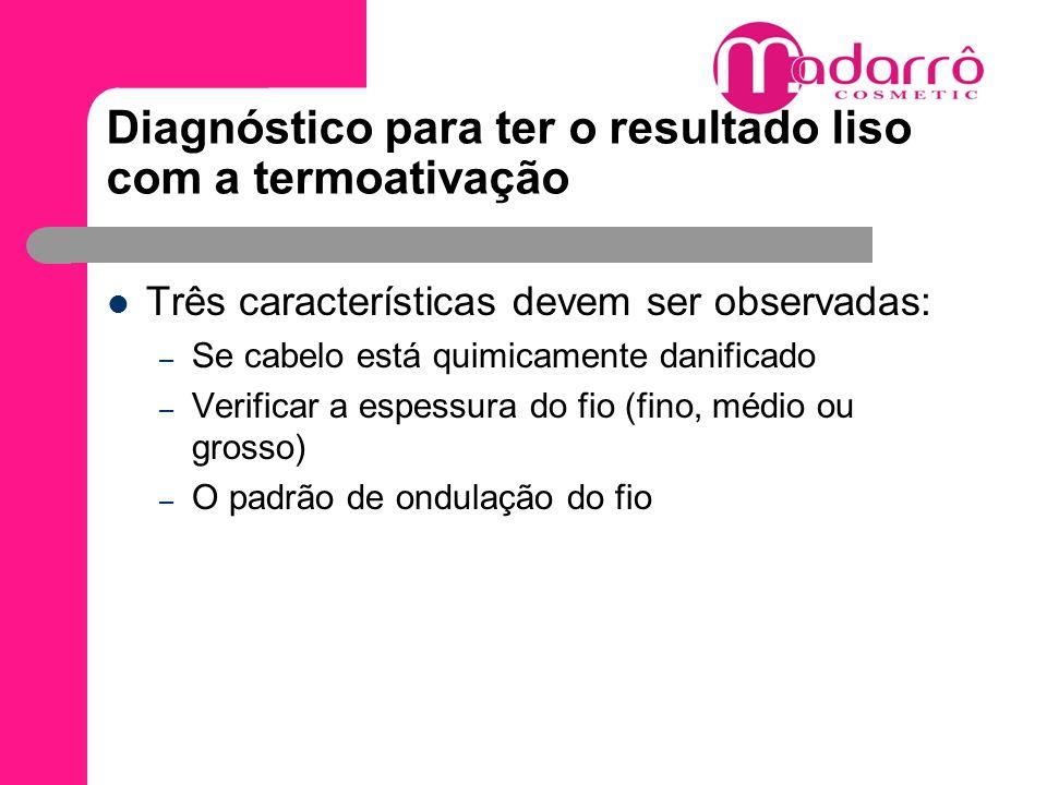 Diagnóstico para ter o resultado liso com a termoativação Três características devem ser observadas: – Se cabelo está quimicamente danificado – Verifi