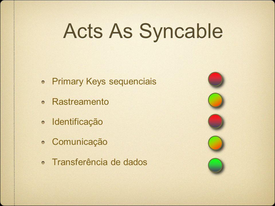 Acts As Syncable Primary Keys sequenciais Rastreamento Identificação Comunicação Transferência de dados