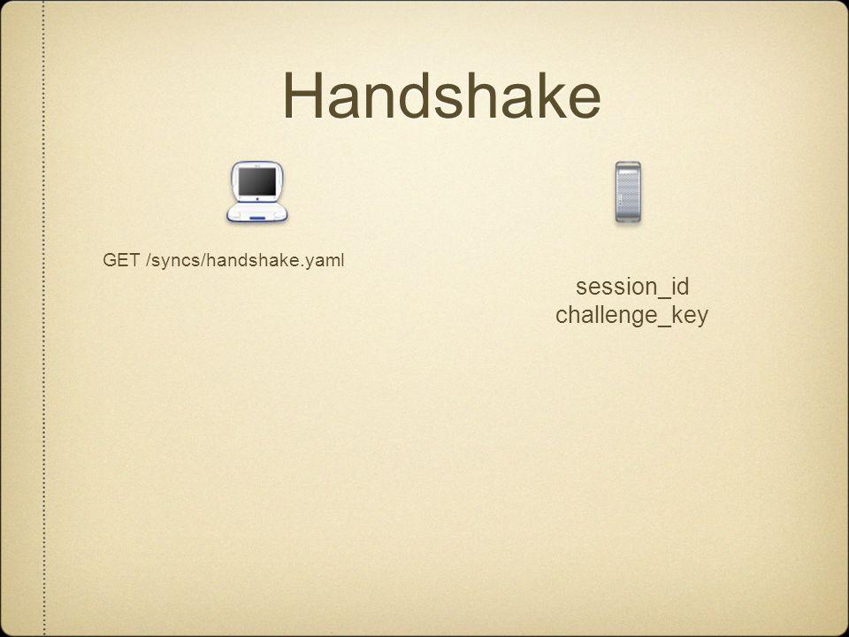 Handshake GET /syncs/handshake.yaml session_id challenge_key