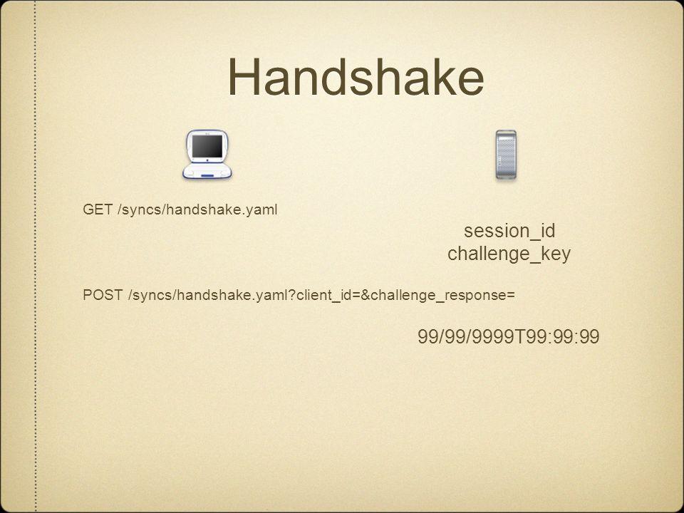 Handshake GET /syncs/handshake.yaml session_id challenge_key POST /syncs/handshake.yaml client_id=&challenge_response= 99/99/9999T99:99:99