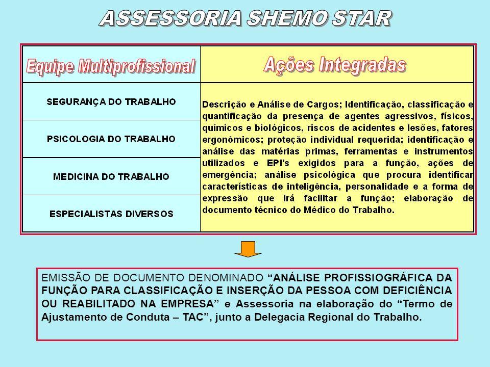 A Empresa contrata os serviços profissionais da Shemo Star para a elaboração da Análise Profissiográfica da Função para Classificação e Inserção da Pe