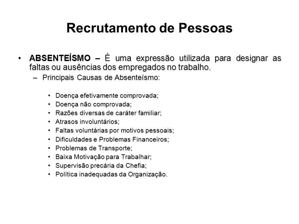 Recrutamento de Pessoas ABSENTEÍSMO – É uma expressão utilizada para designar as faltas ou ausências dos empregados no trabalho.ABSENTEÍSMO – É uma ex