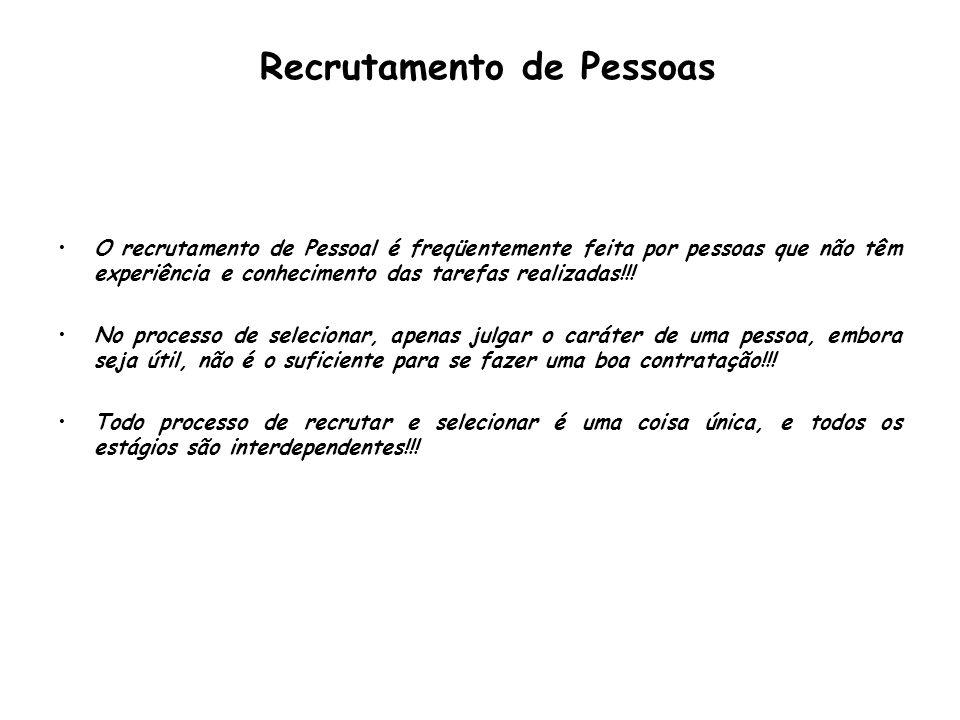 Recrutamento de Pessoas O recrutamento de Pessoal é freqüentemente feita por pessoas que não têm experiência e conhecimento das tarefas realizadas!!!