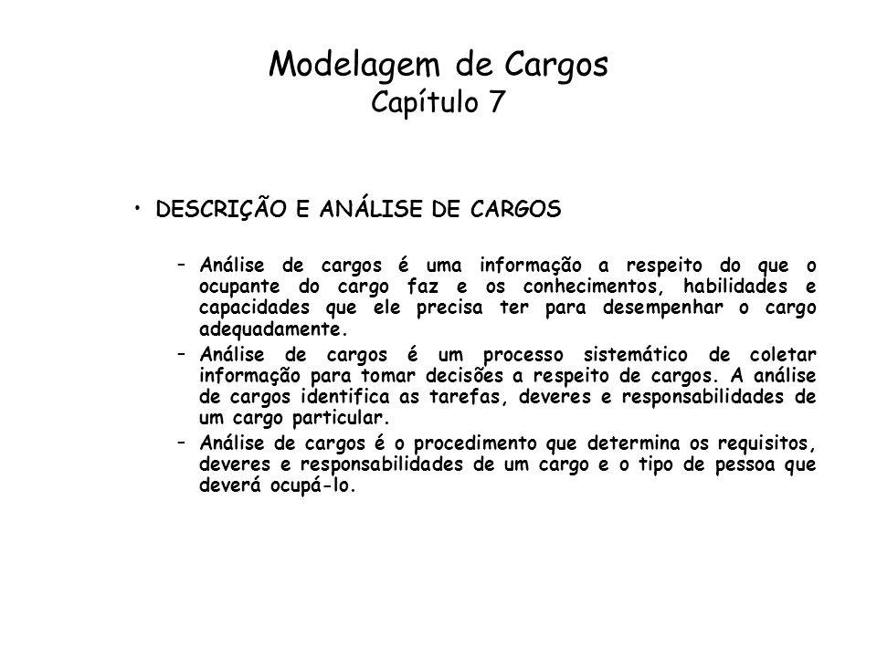 Modelagem de Cargos Capítulo 7 DESCRIÇÃO E ANÁLISE DE CARGOS –Análise de cargos é uma informação a respeito do que o ocupante do cargo faz e os conhec