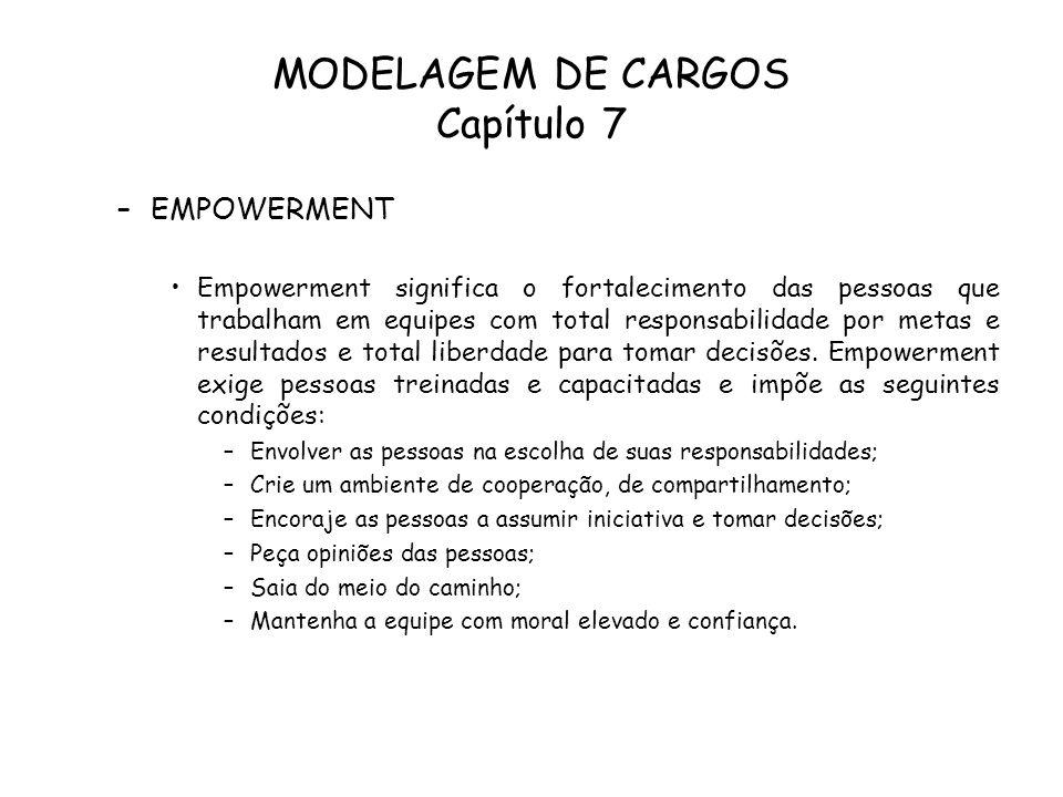 MODELAGEM DE CARGOS Capítulo 7 –EMPOWERMENT Empowerment significa o fortalecimento das pessoas que trabalham em equipes com total responsabilidade por