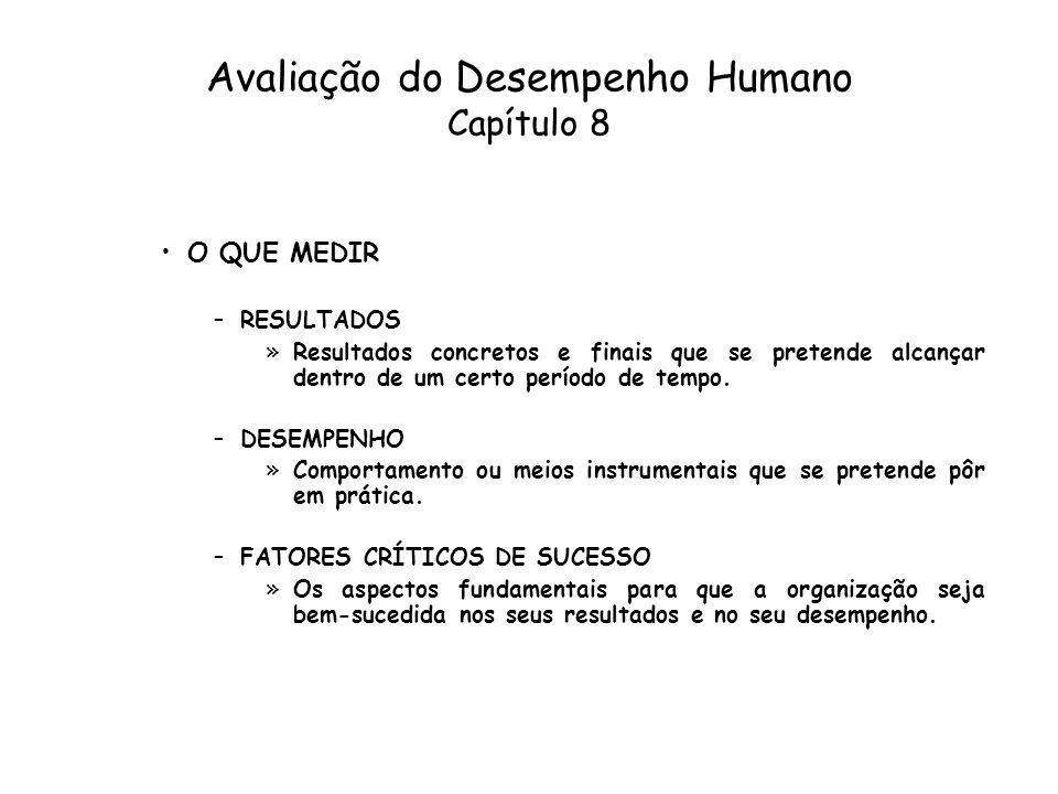 Avaliação do Desempenho Humano Capítulo 8 O QUE MEDIR –RESULTADOS »Resultados concretos e finais que se pretende alcançar dentro de um certo período d