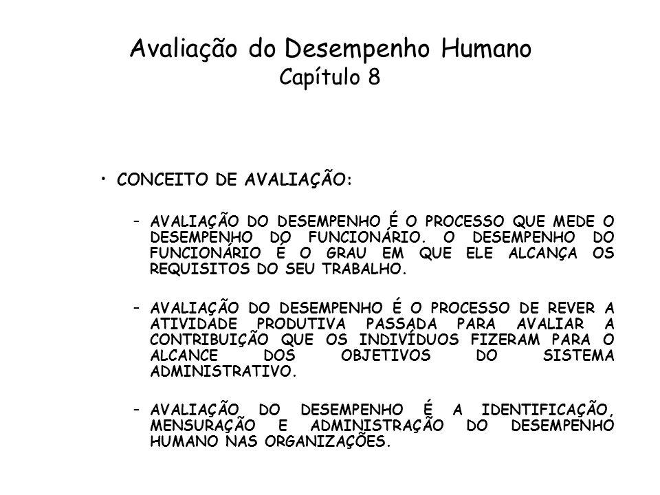 Avaliação do Desempenho Humano Capítulo 8 CONCEITO DE AVALIAÇÃO: –AVALIAÇÃO DO DESEMPENHO É O PROCESSO QUE MEDE O DESEMPENHO DO FUNCIONÁRIO. O DESEMPE