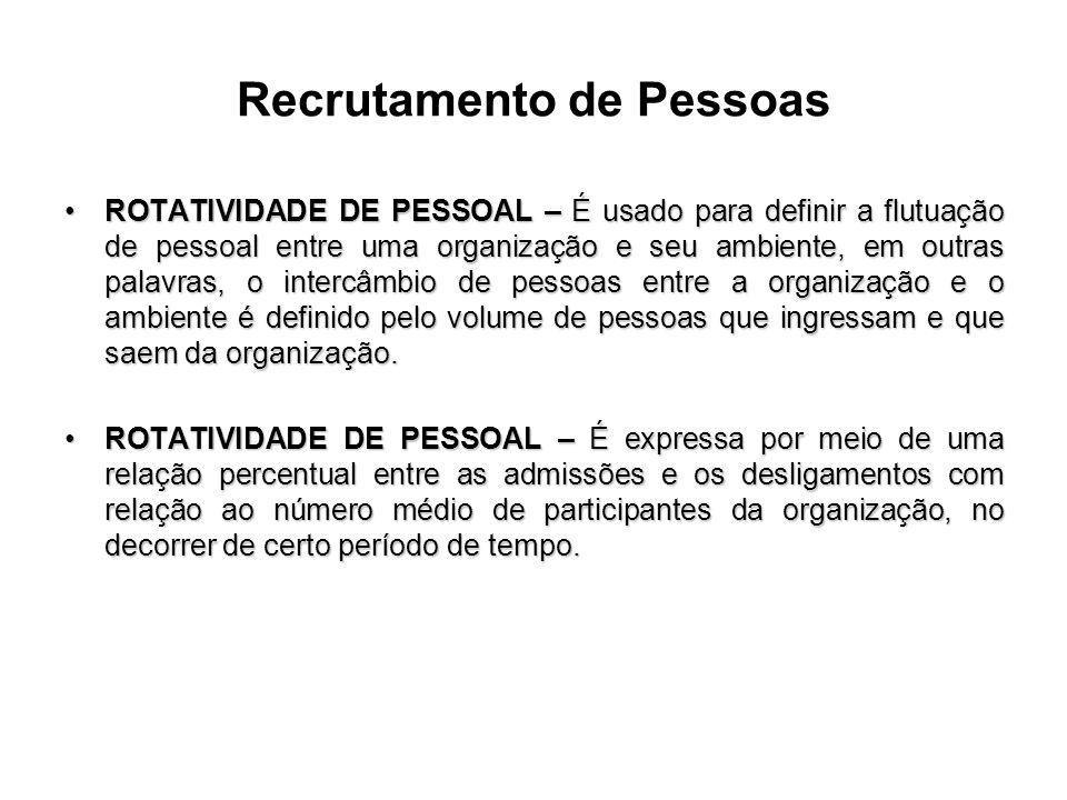 Recrutamento de Pessoas ROTATIVIDADE DE PESSOAL – É usado para definir a flutuação de pessoal entre uma organização e seu ambiente, em outras palavras