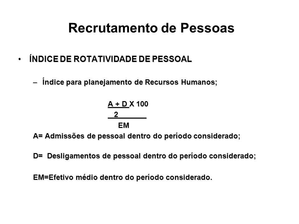 Recrutamento de Pessoas ÍNDICE DE ROTATIVIDADE DE PESSOALÍNDICE DE ROTATIVIDADE DE PESSOAL –Índice para planejamento de Recursos Humanos; A + D X 100