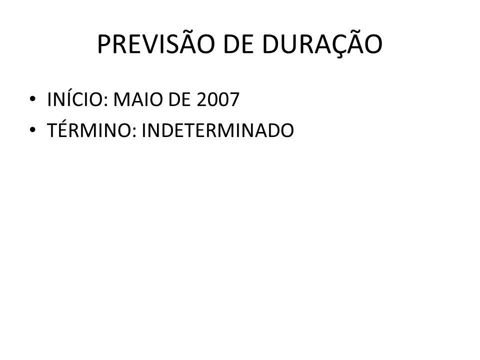 PREVISÃO DE DURAÇÃO INÍCIO: MAIO DE 2007 TÉRMINO: INDETERMINADO
