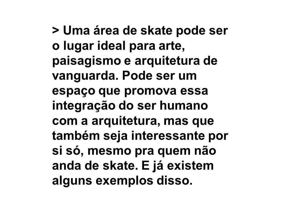 > Uma área de skate pode ser o lugar ideal para arte, paisagismo e arquitetura de vanguarda. Pode ser um espaço que promova essa integração do ser hum