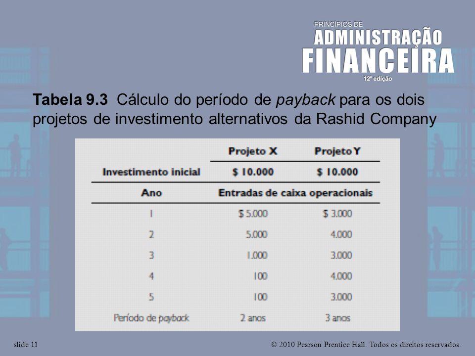 © 2010 Pearson Prentice Hall. Todos os direitos reservados.slide 11 Tabela 9.3 Cálculo do período de payback para os dois projetos de investimento alt