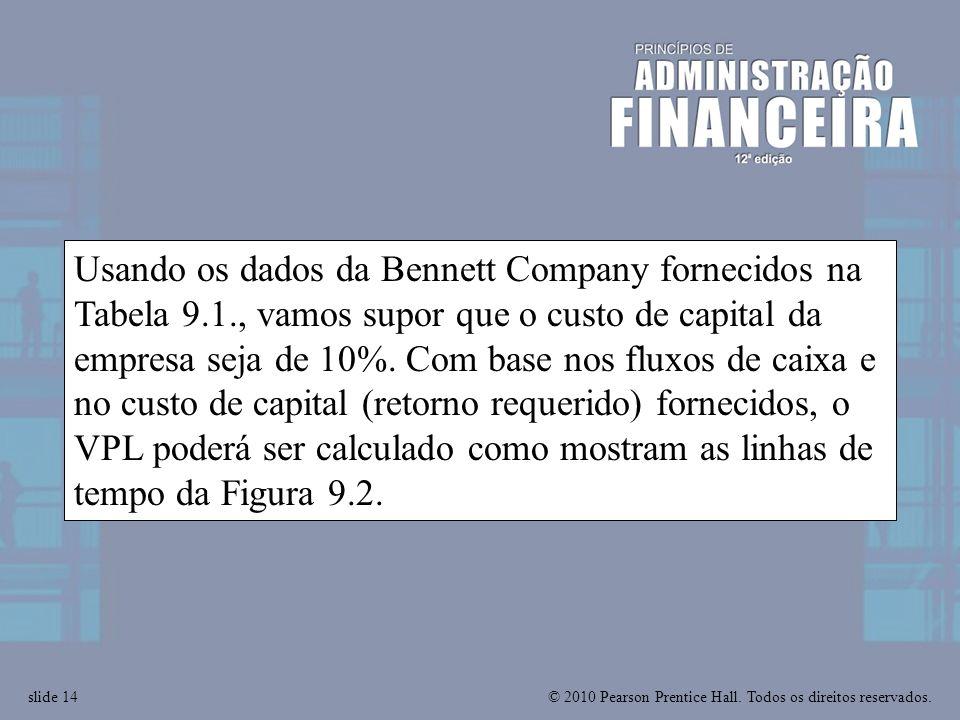 © 2010 Pearson Prentice Hall. Todos os direitos reservados.slide 14 Usando os dados da Bennett Company fornecidos na Tabela 9.1., vamos supor que o cu