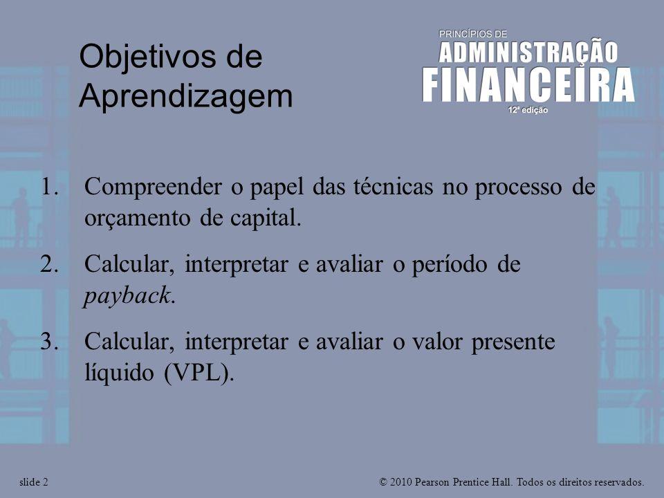 © 2010 Pearson Prentice Hall. Todos os direitos reservados.slide 2 Objetivos de Aprendizagem 1.Compreender o papel das técnicas no processo de orçamen