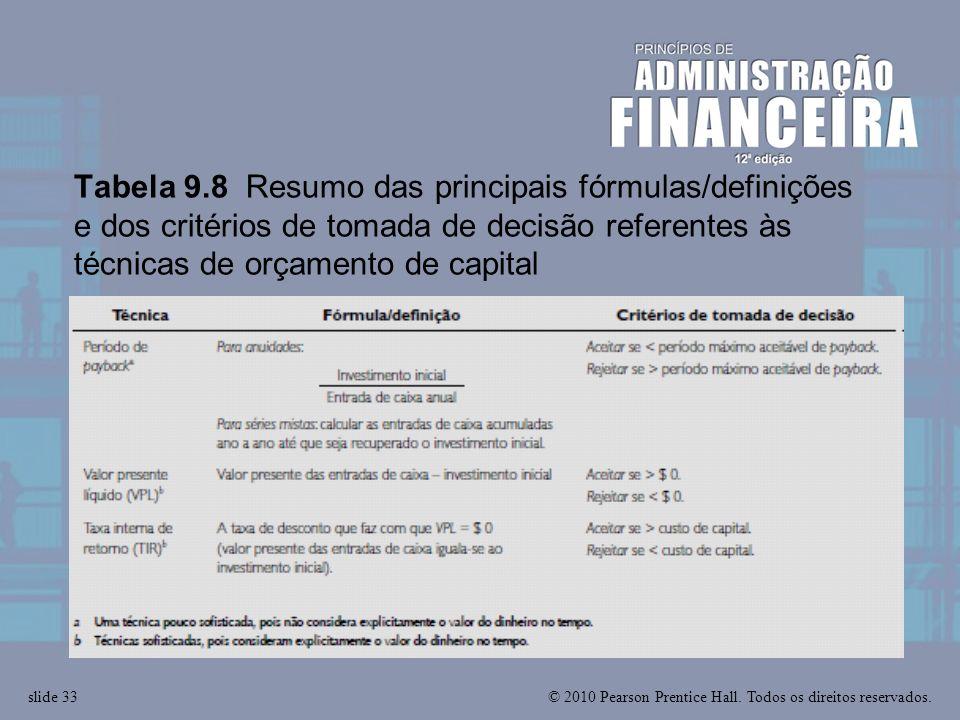 © 2010 Pearson Prentice Hall. Todos os direitos reservados.slide 33 Tabela 9.8 Resumo das principais fórmulas/definições e dos critérios de tomada de