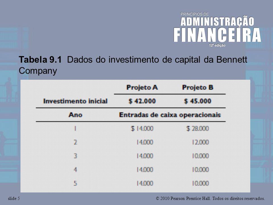 © 2010 Pearson Prentice Hall. Todos os direitos reservados.slide 5 Tabela 9.1 Dados do investimento de capital da Bennett Company