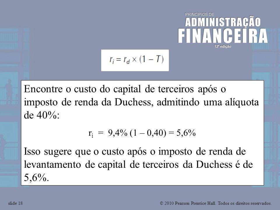© 2010 Pearson Prentice Hall. Todos os direitos reservados.slide 18 Encontre o custo do capital de terceiros após o imposto de renda da Duchess, admit