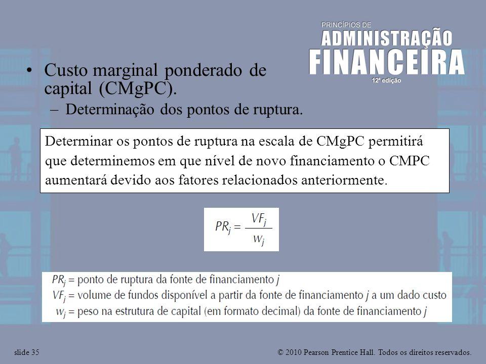 © 2010 Pearson Prentice Hall. Todos os direitos reservados.slide 35 Determinar os pontos de ruptura na escala de CMgPC permitirá que determinemos em q