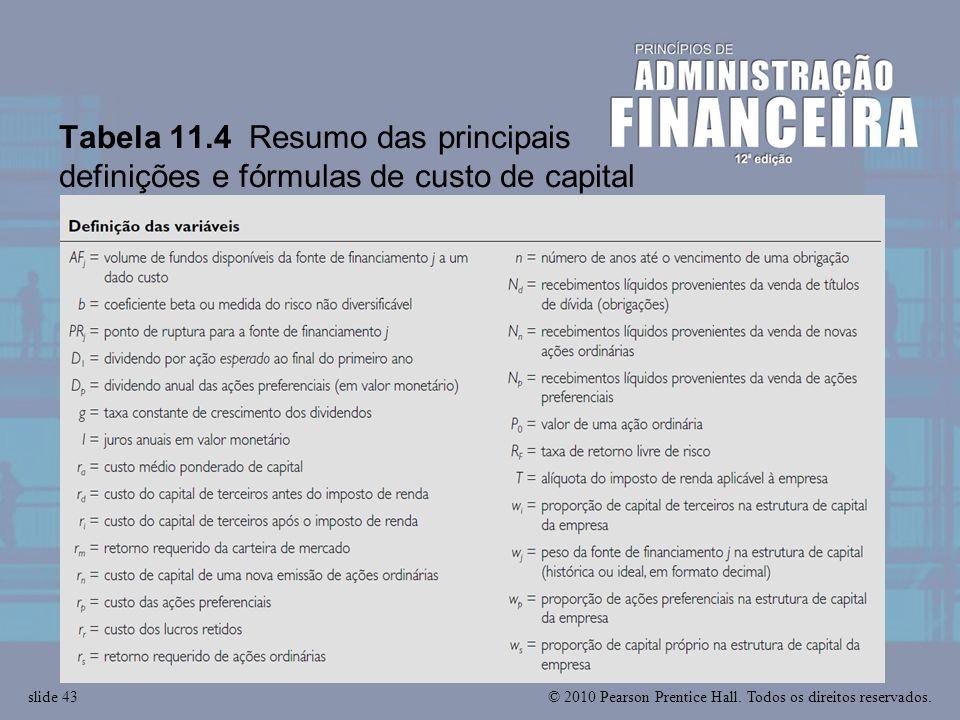 © 2010 Pearson Prentice Hall. Todos os direitos reservados.slide 43 Tabela 11.4 Resumo das principais definições e fórmulas de custo de capital
