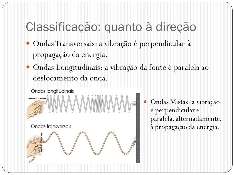 Classificação: quanto à direção Ondas Transversais: a vibração é perpendicular à propagação da energia. Ondas Longitudinais: a vibração da fonte é par