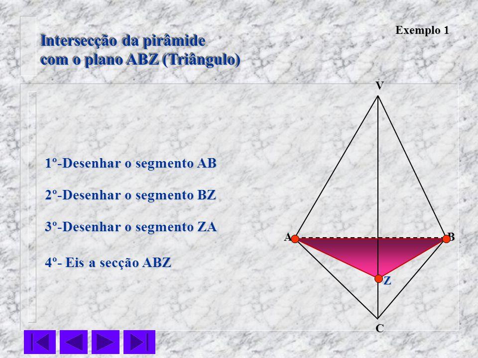 Intersecção da pirâmide com o plano ABZ (Triângulo) Intersecção da pirâmide com o plano ABZ (Triângulo) VC BA 1º-Desenhar o segmento AB 2º-Desenhar o