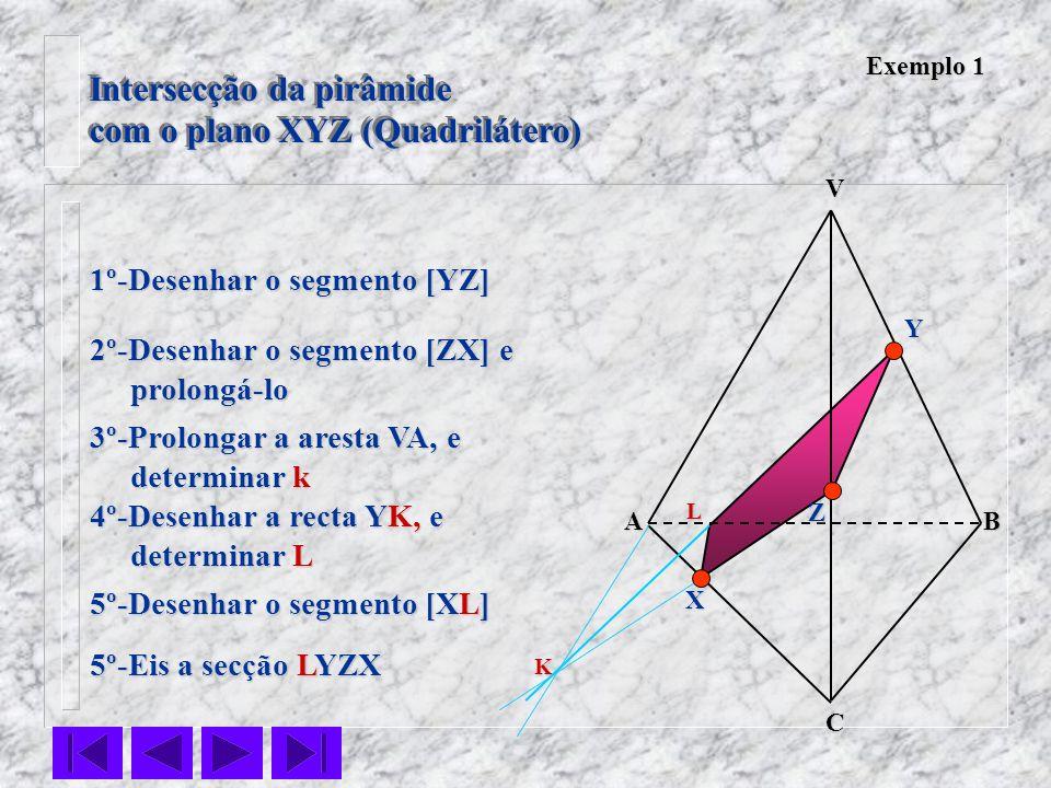 Intersecção da pirâmide com o plano XYZ (Quadrilátero) Intersecção da pirâmide com o plano XYZ (Quadrilátero) VC BA Z Y X Exemplo 1 1º-Desenhar o segm