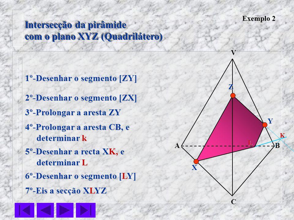 Intersecção da pirâmide com o plano XYZ (Quadrilátero) Intersecção da pirâmide com o plano XYZ (Quadrilátero) VC BA Z Y X Exemplo 2 1º-Desenhar o segm