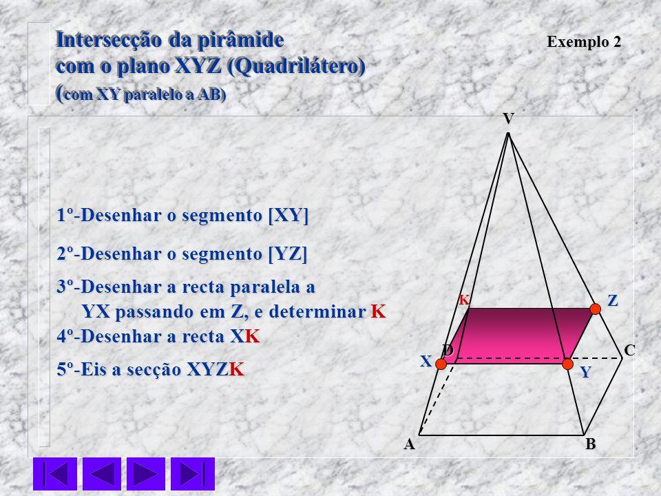 VC BA D Exemplo 2 1º-Desenhar o segmento [XY] 2º-Desenhar o segmento [YZ] 3º-Desenhar a recta paralela a YX passando em Z, e determinar K YX passando