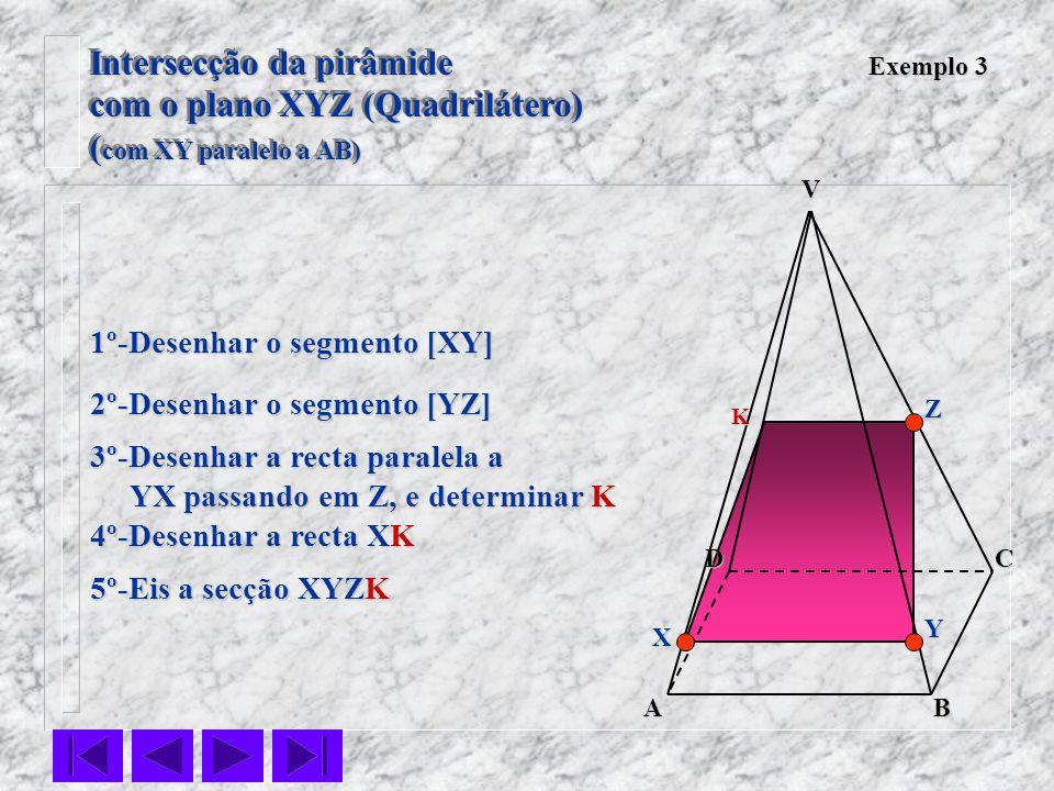 VC BA D Exemplo 3 1º-Desenhar o segmento [XY] 2º-Desenhar o segmento [YZ] 3º-Desenhar a recta paralela a YX passando em Z, e determinar K YX passando