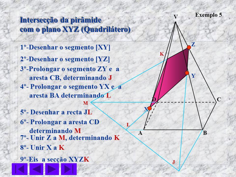 Intersecção da pirâmide com o plano XYZ (Quadrilátero) Intersecção da pirâmide com o plano XYZ (Quadrilátero) Exemplo 5 1º-Desenhar o segmento [XY] 2º