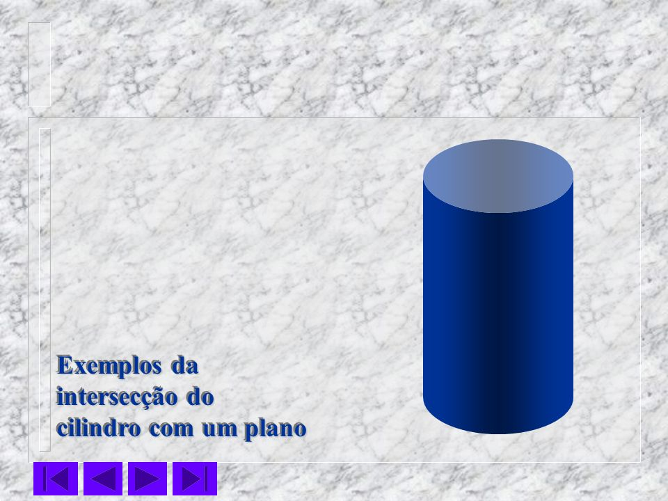 Exemplos da intersecção do cilindro com um plano Exemplos da intersecção do cilindro com um plano