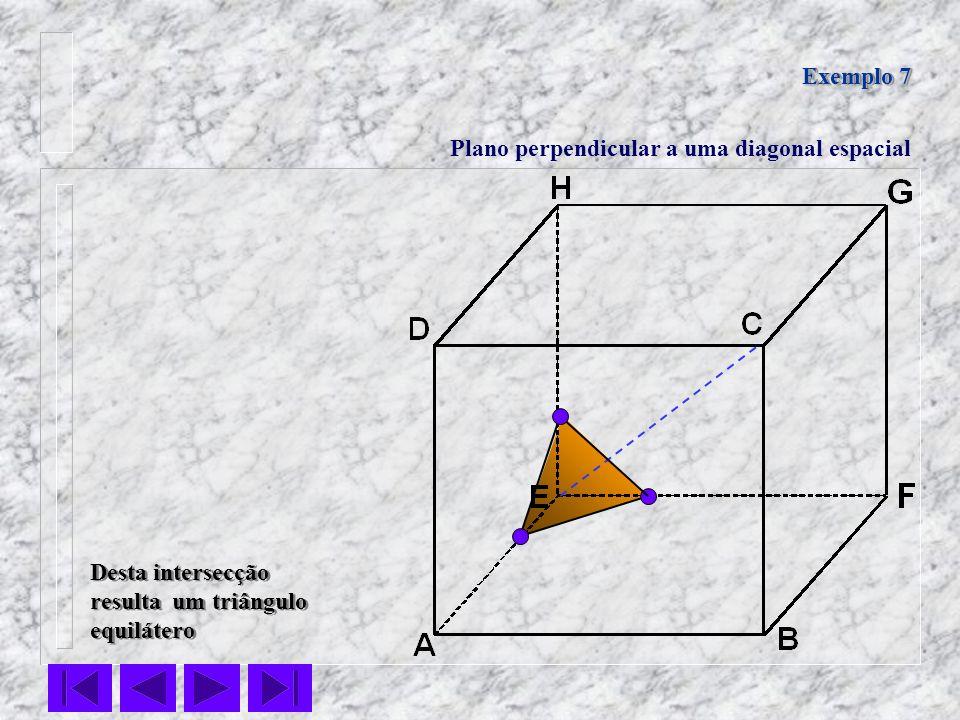 Exemplo 7 Plano perpendicular a uma diagonal espacial Desta intersecção resulta um triângulo equilátero Desta intersecção resulta um triângulo equilát