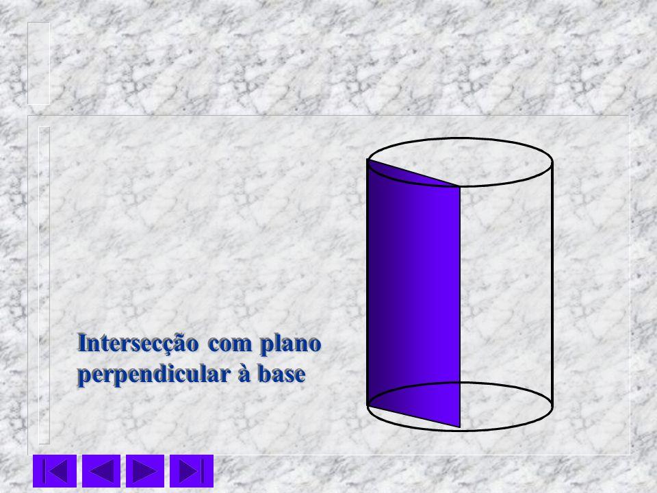 Intersecção com plano perpendicular à base Intersecção com plano perpendicular à base