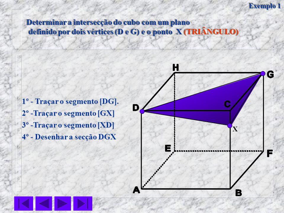 Determinar a intersecção do cubo com um plano definido por dois vértices (D e G) e o ponto X (TRIÂNGULO) definido por dois vértices (D e G) e o ponto