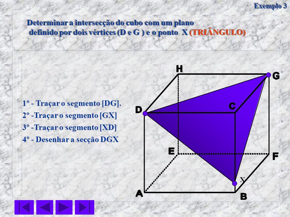 Determinar a intersecção do cubo com um plano definido por dois vértices (D e G ) e o ponto X (TRIÂNGULO) definido por dois vértices (D e G ) e o pont