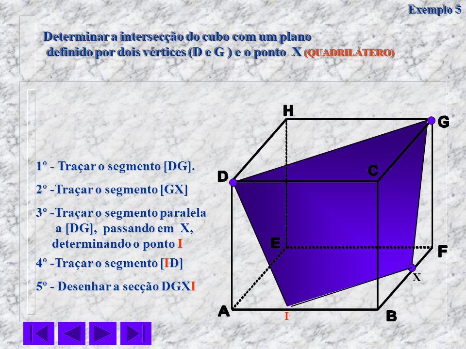 Determinar a intersecção do cubo com um plano definido por dois vértices (D e G ) e o ponto X (QUADRILÁTERO) definido por dois vértices (D e G ) e o p