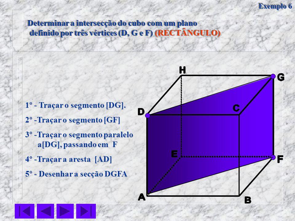 Determinar a intersecção do cubo com um plano definido por três vértices (D, G e F) (RECTÂNGULO) definido por três vértices (D, G e F) (RECTÂNGULO) De