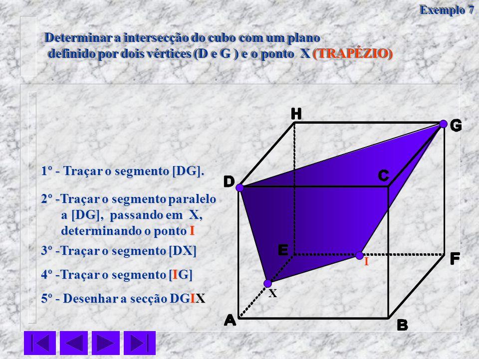 Determinar a intersecção do cubo com um plano definido por dois vértices (D e G ) e o ponto X (TRAPÉZIO) definido por dois vértices (D e G ) e o ponto