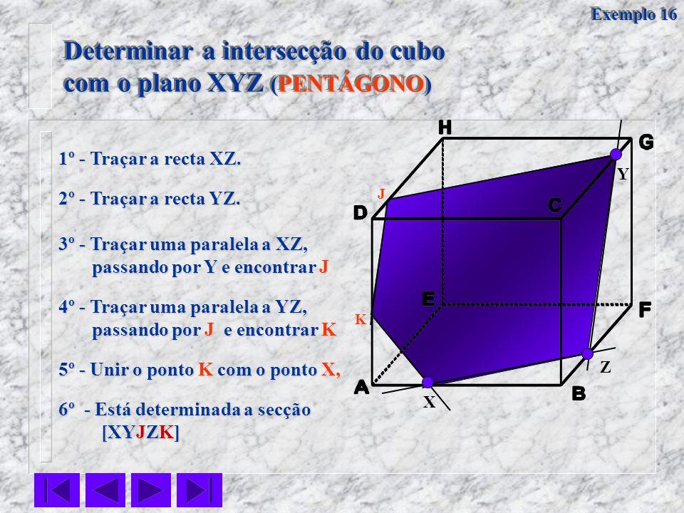 X Y Z 1º - Traçar a recta XZ. 2º - Traçar a recta YZ. 4º - Traçar uma paralela a YZ, passando por J e encontrar K passando por J e encontrar K 5º - Un